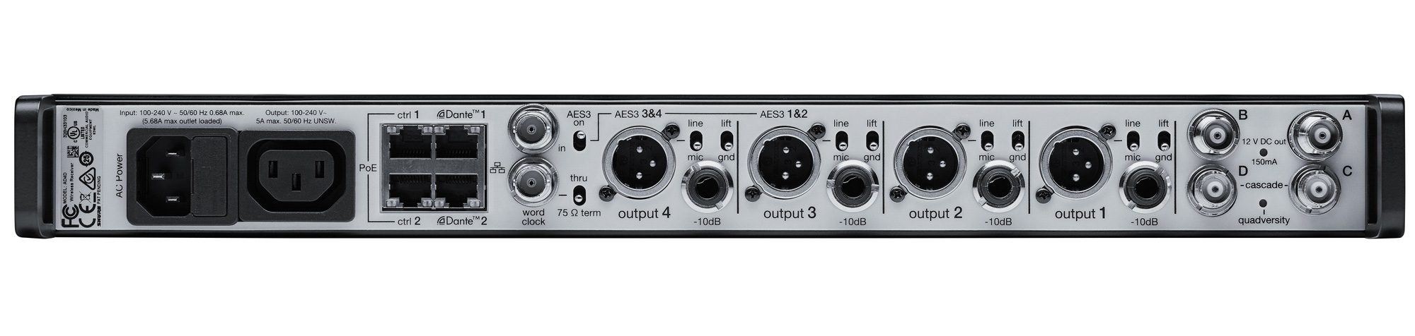 Shure AD4Q Axient Wireless Receiver for rent